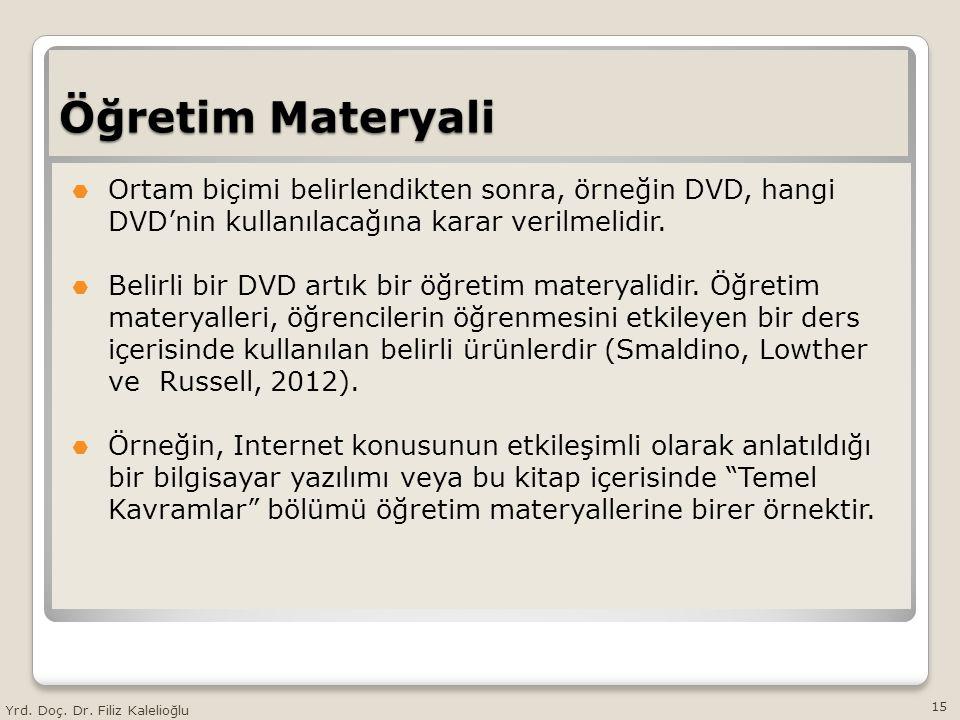 Öğretim Materyali  Ortam biçimi belirlendikten sonra, örneğin DVD, hangi DVD'nin kullanılacağına karar verilmelidir.  Belirli bir DVD artık bir öğre