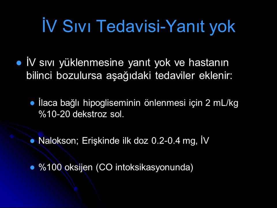 İV sıvı yüklenmesine yanıt yok ve hastanın bilinci bozulursa aşağıdaki tedaviler eklenir: İlaca bağlı hipogliseminin önlenmesi için 2 mL/kg %10-20 dek