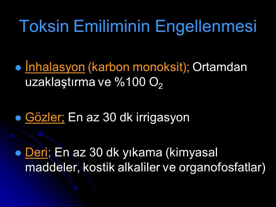 Toksin Emiliminin Engellenmesi İnhalasyon (karbon monoksit); Ortamdan uzaklaştırma ve %100 O 2 Gözler; En az 30 dk irrigasyon Deri; En az 30 dk yıkama