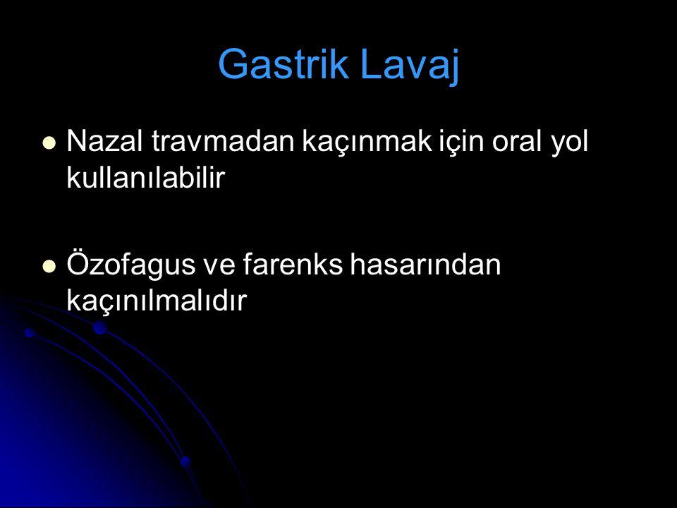 Nazal travmadan kaçınmak için oral yol kullanılabilir Özofagus ve farenks hasarından kaçınılmalıdır Gastrik Lavaj