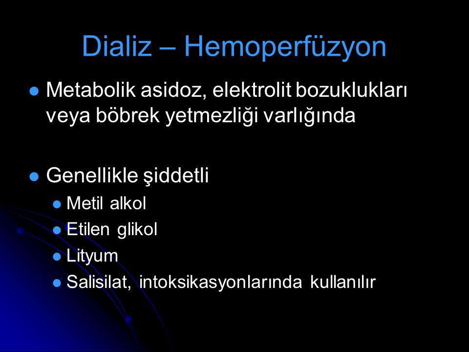 Dializ – Hemoperfüzyon Metabolik asidoz, elektrolit bozuklukları veya böbrek yetmezliği varlığında Genellikle şiddetli Metil alkol Etilen glikol Lityu