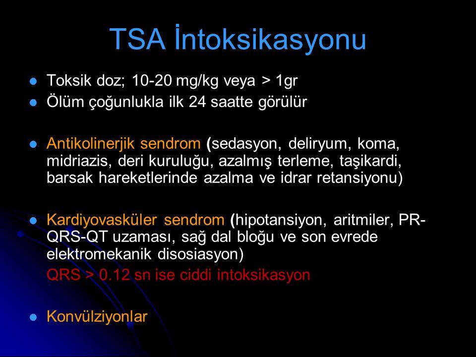 TSA İntoksikasyonu Toksik doz; 10-20 mg/kg veya > 1gr Ölüm çoğunlukla ilk 24 saatte görülür Antikolinerjik sendrom (sedasyon, deliryum, koma, midriazi
