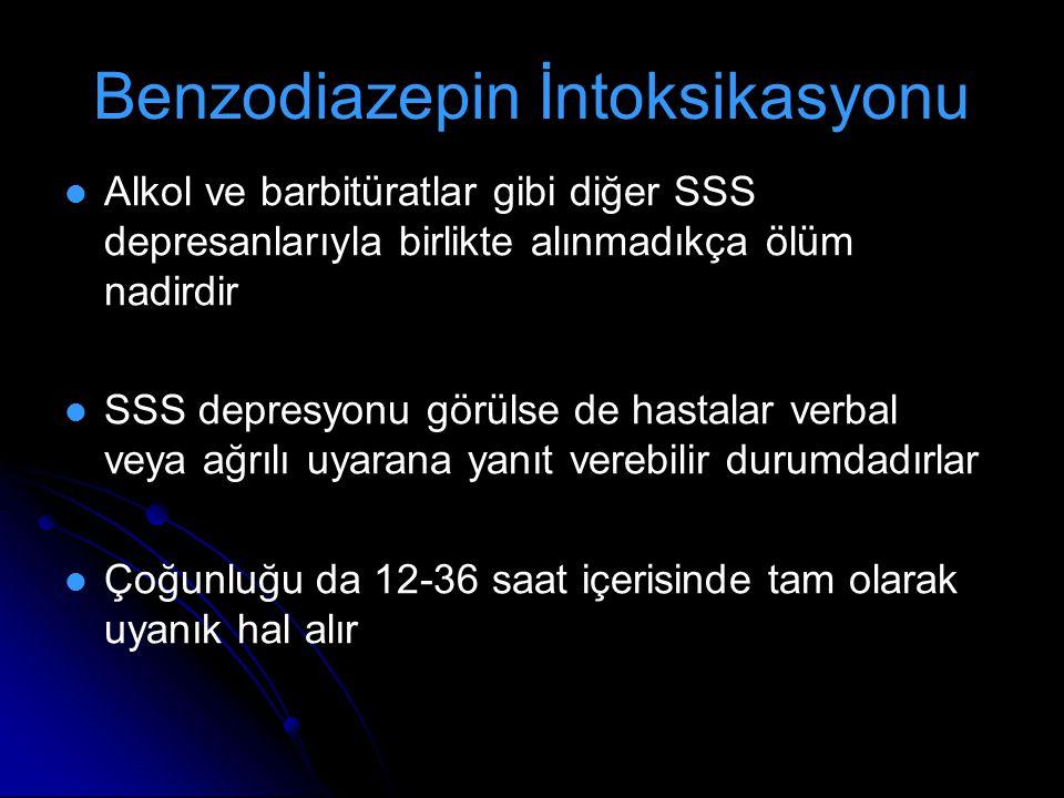 Benzodiazepin İntoksikasyonu Alkol ve barbitüratlar gibi diğer SSS depresanlarıyla birlikte alınmadıkça ölüm nadirdir SSS depresyonu görülse de hastal