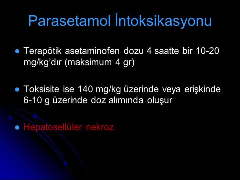 Parasetamol İntoksikasyonu Terapötik asetaminofen dozu 4 saatte bir 10-20 mg/kg'dır (maksimum 4 gr) Toksisite ise 140 mg/kg üzerinde veya erişkinde 6-