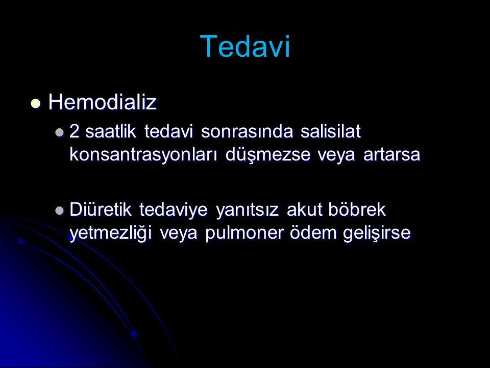 Tedavi Hemodializ Hemodializ 2 saatlik tedavi sonrasında salisilat konsantrasyonları düşmezse veya artarsa 2 saatlik tedavi sonrasında salisilat konsa
