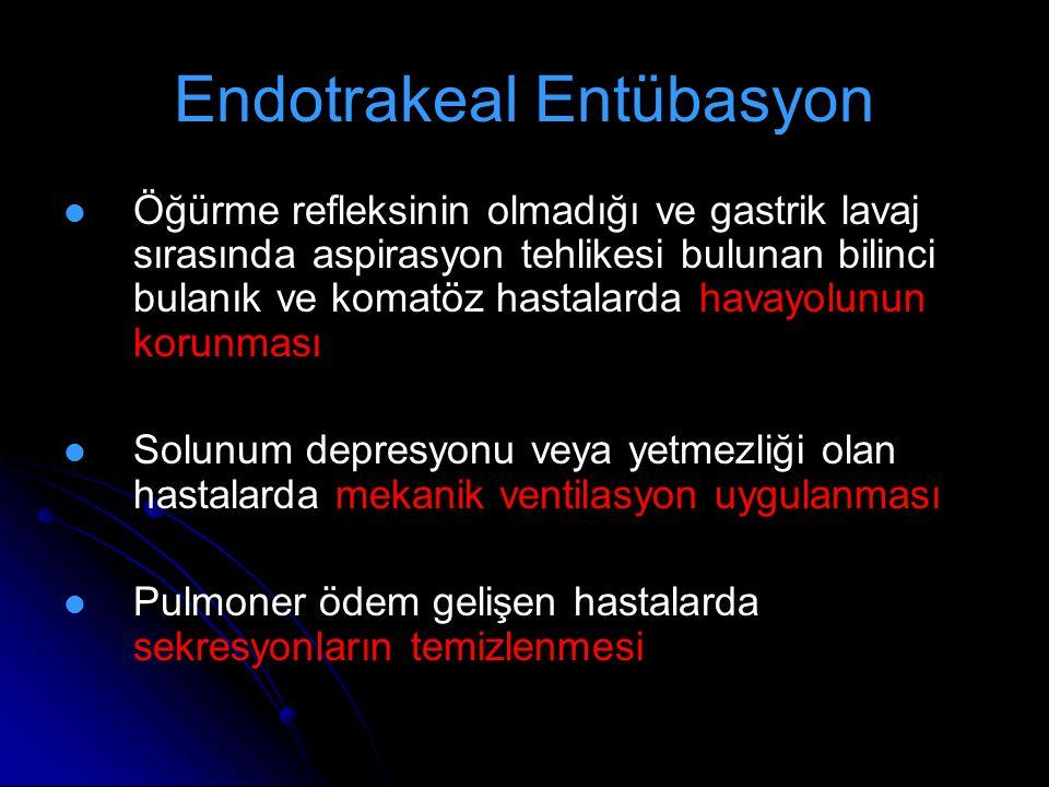 Endotrakeal Entübasyon Öğürme refleksinin olmadığı ve gastrik lavaj sırasında aspirasyon tehlikesi bulunan bilinci bulanık ve komatöz hastalarda havay