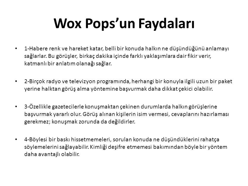 Wox Pops'un Faydaları 1-Habere renk ve hareket katar, belli bir konuda halkın ne düşündüğünü anlamayı sağlarlar. Bu görüşler, birkaç dakika içinde far