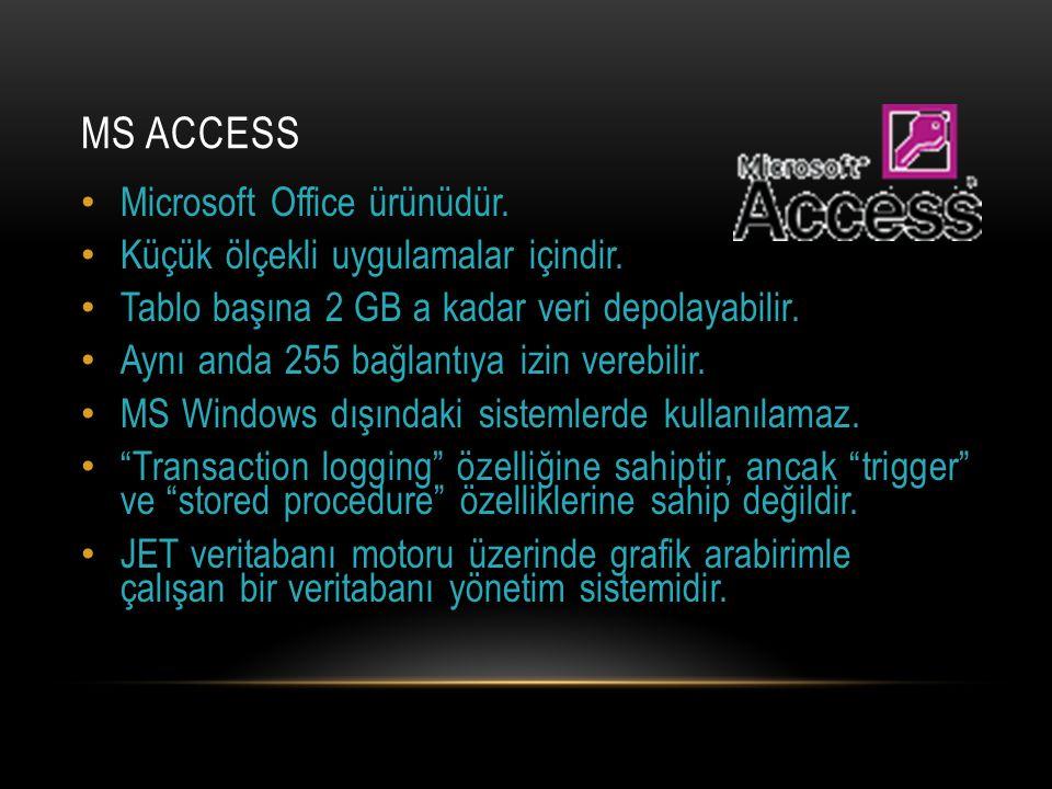 MS ACCESS Microsoft Office ürünüdür. Küçük ölçekli uygulamalar içindir. Tablo başına 2 GB a kadar veri depolayabilir. Aynı anda 255 bağlantıya izin ve