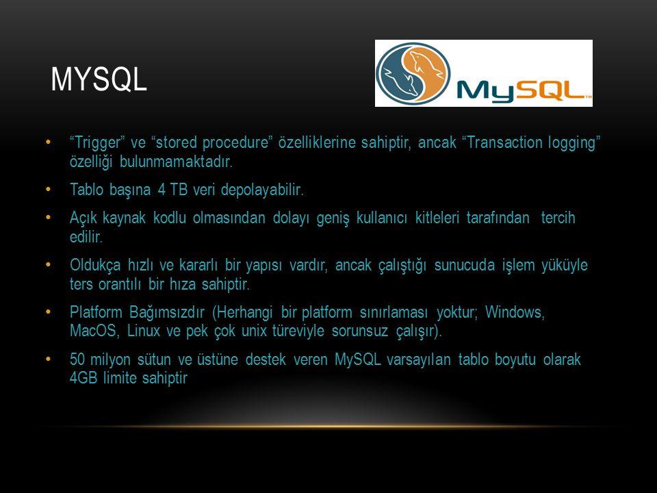 """MYSQL """"Trigger"""" ve """"stored procedure"""" özelliklerine sahiptir, ancak """"Transaction logging"""" özelliği bulunmamaktadır. Tablo başına 4 TB veri depolayabil"""