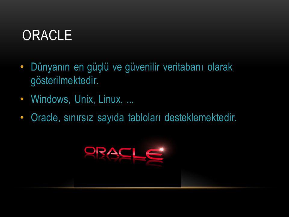 ORACLE Dünyanın en güçlü ve güvenilir veritabanı olarak gösterilmektedir. Windows, Unix, Linux,... Oracle, sınırsız sayıda tabloları desteklemektedir.