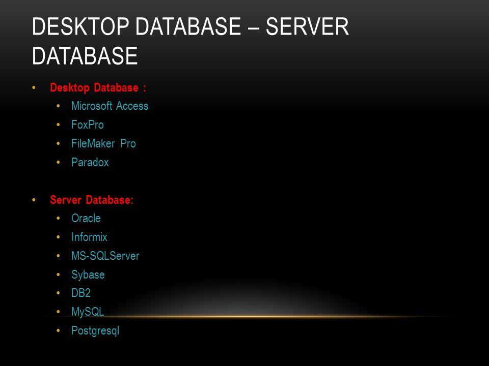 DESKTOP DATABASE – SERVER DATABASE Desktop Database : Microsoft Access FoxPro FileMaker Pro Paradox Server Database: Oracle Informix MS-SQLServer Syba