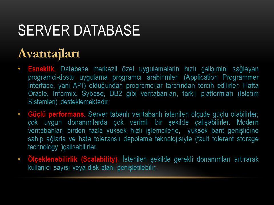 SERVER DATABASE Avantajları Esneklik. Database merkezli özel uygulamalarin hızlı gelişimini sağlayan programci-dostu uygulama programcı arabirimleri (