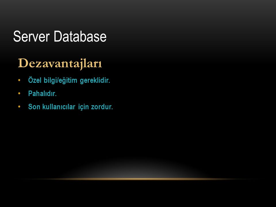 Dezavantajları Özel bilgi/eğitim gereklidir. Pahalıdır. Son kullanıcılar için zordur. Server Database