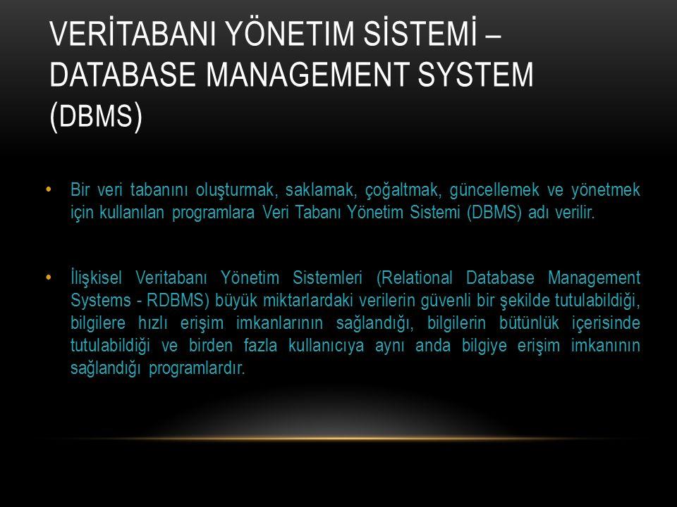 VERİTABANI YÖNETIM SİSTEMİ – DATABASE MANAGEMENT SYSTEM ( DBMS ) Bir veri tabanını oluşturmak, saklamak, çoğaltmak, güncellemek ve yönetmek için kulla