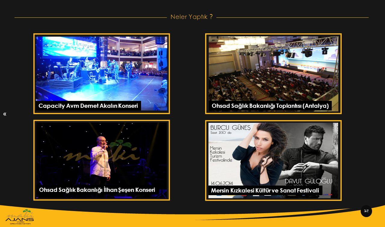 « Neler Yaptık ? 12 Capacity Avm Demet Akalın KonseriOhsad Sağlık Bakanlığı Toplantısı (Antalya) Ohsad Sağlık Bakanlığı İlhan Şeşen Konseri Mersin Kız