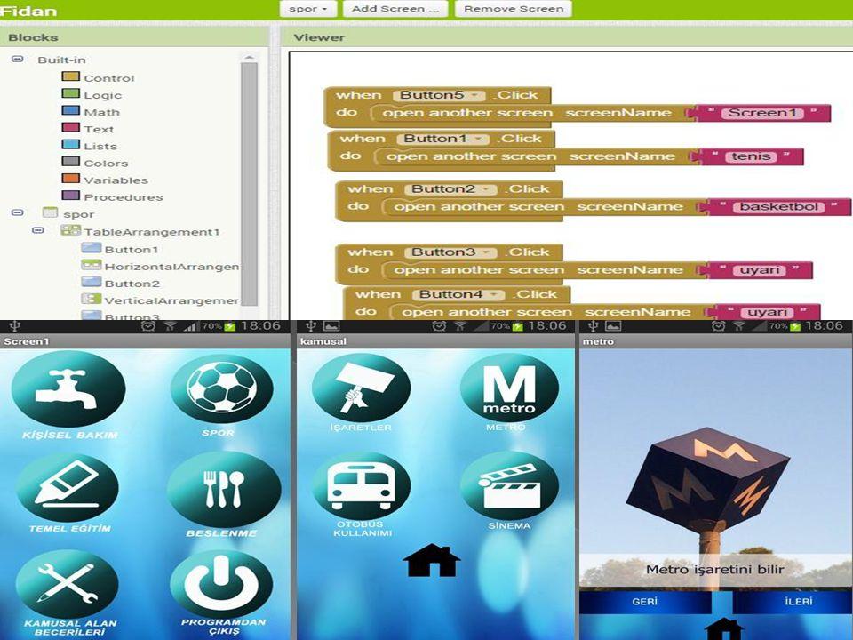 Şekillerden de görülebileceği gibi uygulama kolaylık ve kullanışlılık üzerine tasarlanmıştır.