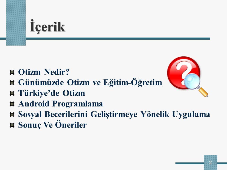 2 İçerik Otizm Nedir? Günümüzde Otizm ve Eğitim-Öğretim Türkiye'de Otizm Android Programlama Sosyal Becerilerini Geliştirmeye Yönelik Uygulama Sonuç V