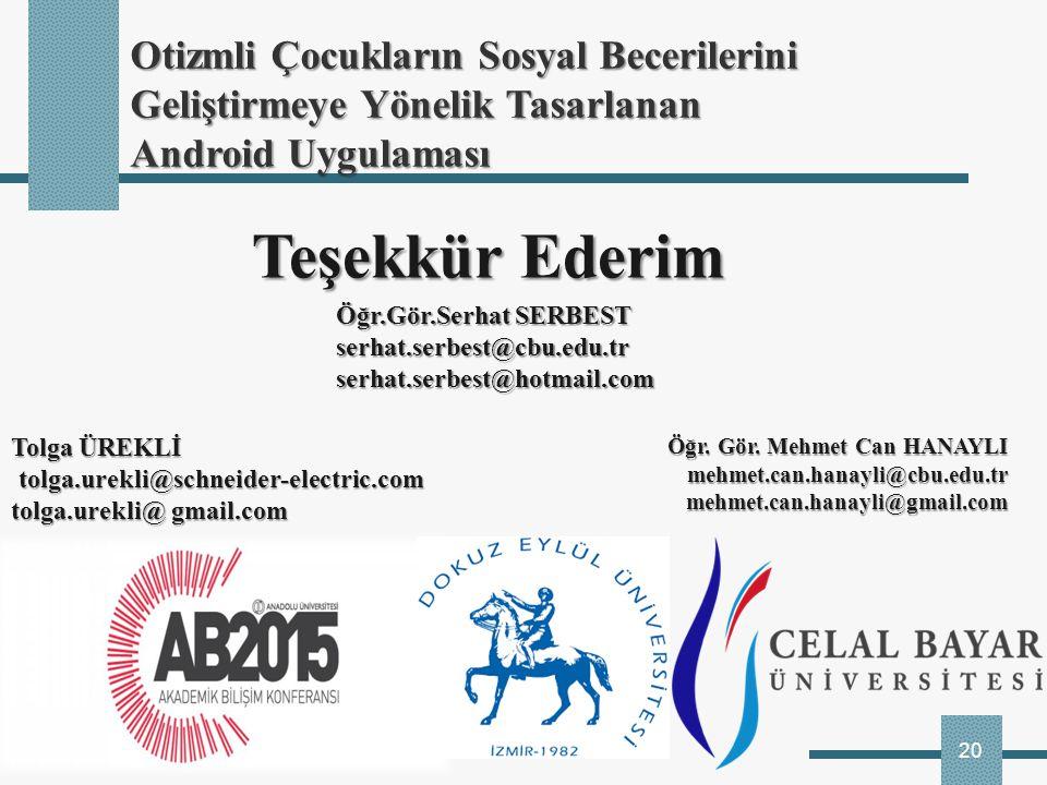 20 Teşekkür Ederim Teşekkür Ederim Öğr. Gör. Mehmet Can HANAYLI mehmet.can.hanayli@cbu.edu.trmehmet.can.hanayli@gmail.com Öğr.Gör.Serhat SERBEST serha