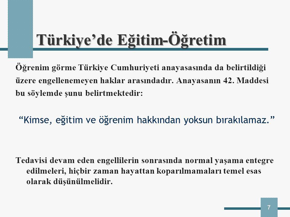 7 Öğrenim görme Türkiye Cumhuriyeti anayasasında da belirtildiği üzere engellenemeyen haklar arasındadır. Anayasanın 42. Maddesi bu söylemde şunu beli