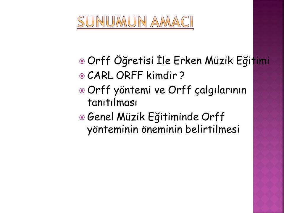  Orff öğretisi adını, 1885-1982 yılları arasında yaşamış olan Alman besteci ve müzik eğitimcisi Carl Orff tan almıştır.