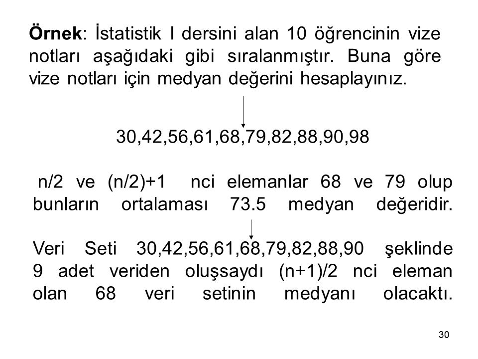 30 Örnek: İstatistik I dersini alan 10 öğrencinin vize notları aşağıdaki gibi sıralanmıştır.