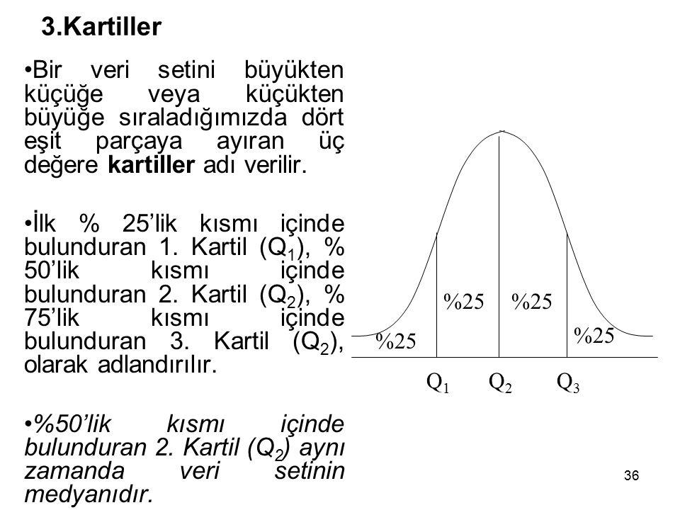 36 3.Kartiller Bir veri setini büyükten küçüğe veya küçükten büyüğe sıraladığımızda dört eşit parçaya ayıran üç değere kartiller adı verilir.