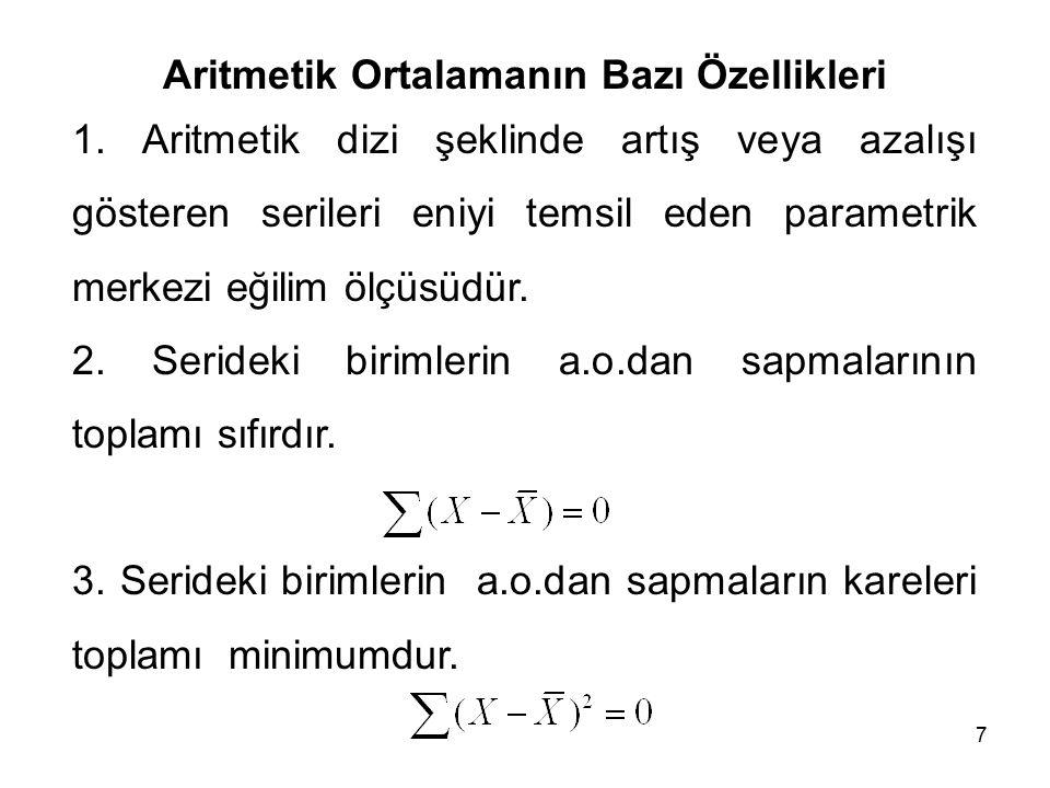 7 Aritmetik Ortalamanın Bazı Özellikleri 1.