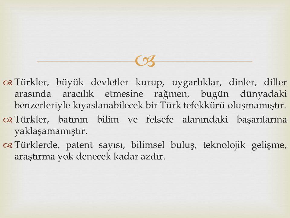   Türkler, büyük devletler kurup, uygarlıklar, dinler, diller arasında aracılık etmesine rağmen, bugün dünyadaki benzerleriyle kıyaslanabilecek bir