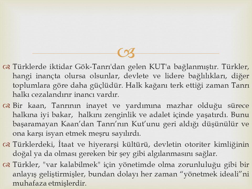   Türklerde iktidar Gök-Tanrı'dan gelen KUT'a bağlanmıştır. Türkler, hangi inançta olursa olsunlar, devlete ve lidere bağlılıkları, diğer toplumlara