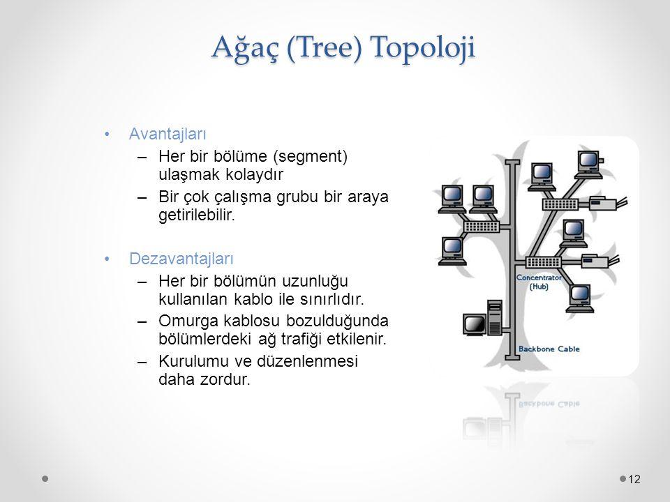 Ağaç (Tree) Topoloji Ağaç (Tree) Topoloji 12 Avantajları –Her bir bölüme (segment) ulaşmak kolaydır –Bir çok çalışma grubu bir araya getirilebilir. De