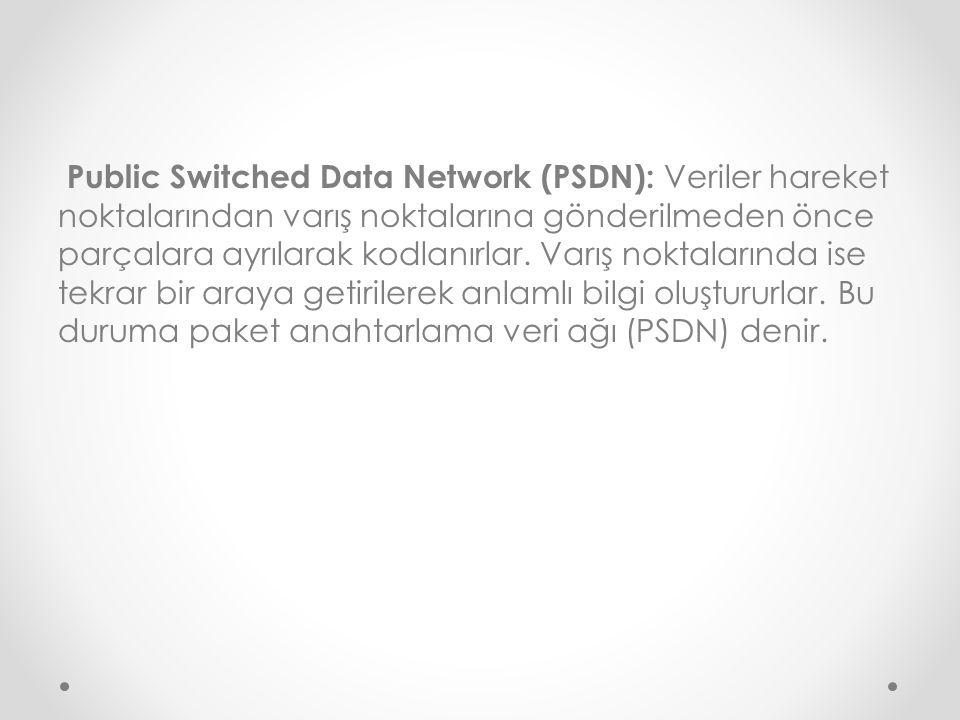 Public Switched Data Network (PSDN): Veriler hareket noktalarından varış noktalarına gönderilmeden önce parçalara ayrılarak kodlanırlar. Varış noktala