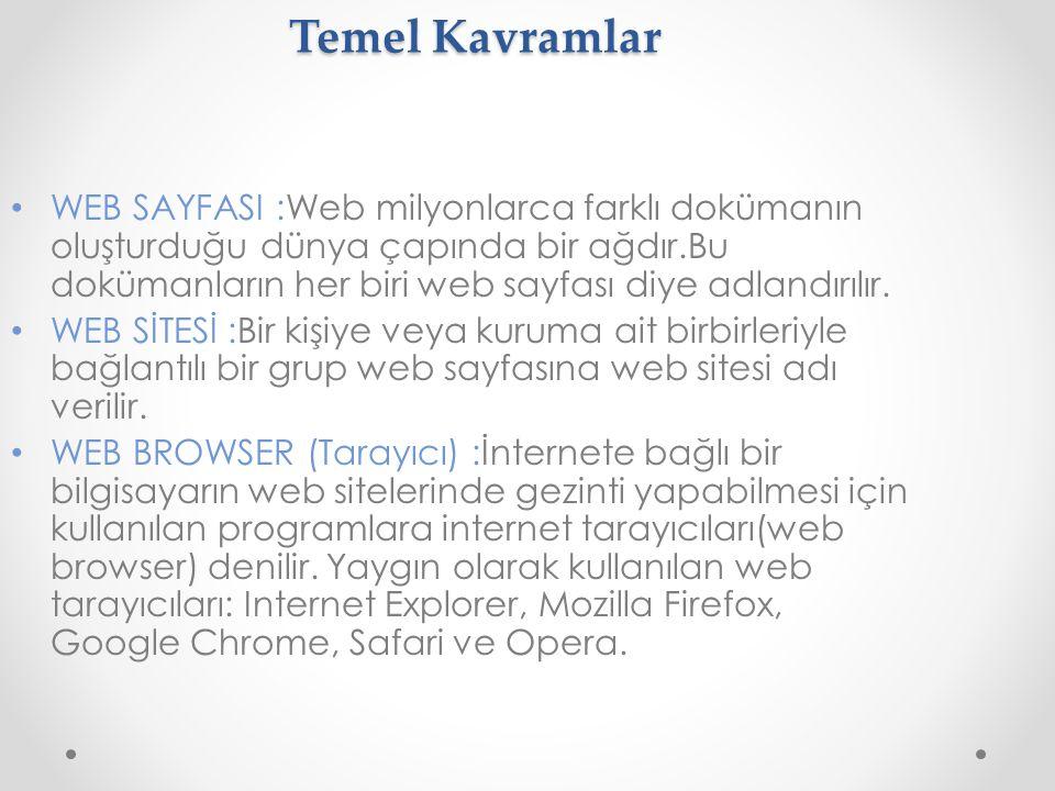 Temel Kavramlar WEB SAYFASI :Web milyonlarca farklı dokümanın oluşturduğu dünya çapında bir ağdır.Bu dokümanların her biri web sayfası diye adlandırıl