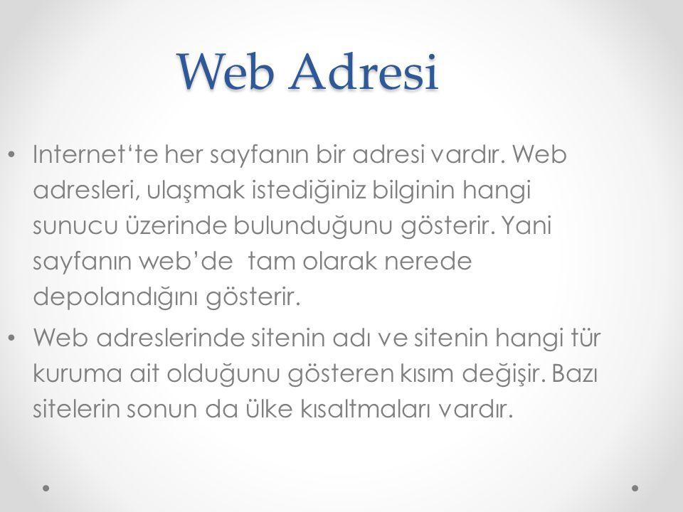 Web Adresi Internet'te her sayfanın bir adresi vardır. Web adresleri, ulaşmak istediğiniz bilginin hangi sunucu üzerinde bulunduğunu gösterir. Yani sa