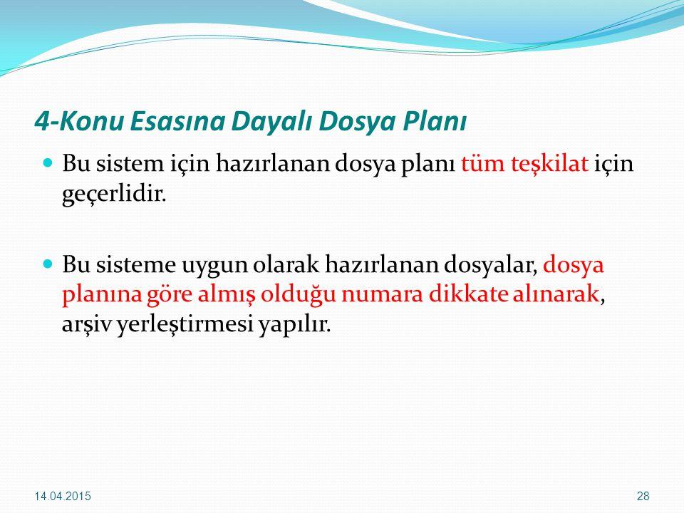 28 4-Konu Esasına Dayalı Dosya Planı Bu sistem için hazırlanan dosya planı tüm teşkilat için geçerlidir. Bu sisteme uygun olarak hazırlanan dosyalar,