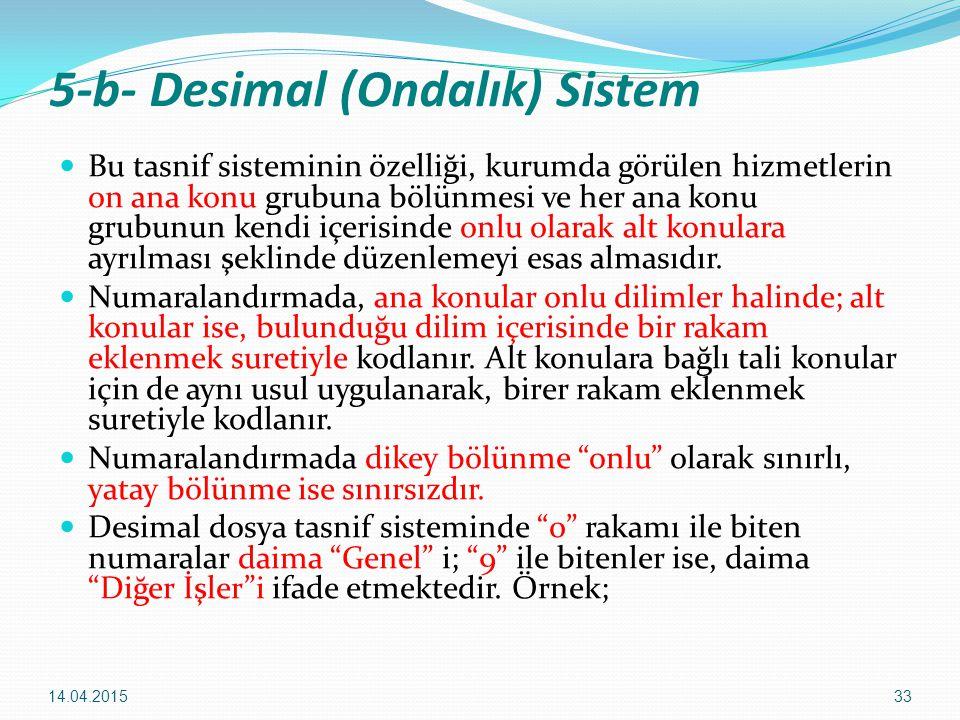 33 5-b- Desimal (Ondalık) Sistem Bu tasnif sisteminin özelliği, kurumda görülen hizmetlerin on ana konu grubuna bölünmesi ve her ana konu grubunun ken