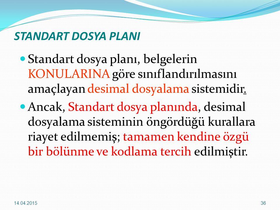 36 STANDART DOSYA PLANI Standart dosya planı, belgelerin KONULARINA göre sınıflandırılmasını amaçlayan desimal dosyalama sistemidir. Ancak, Standart d