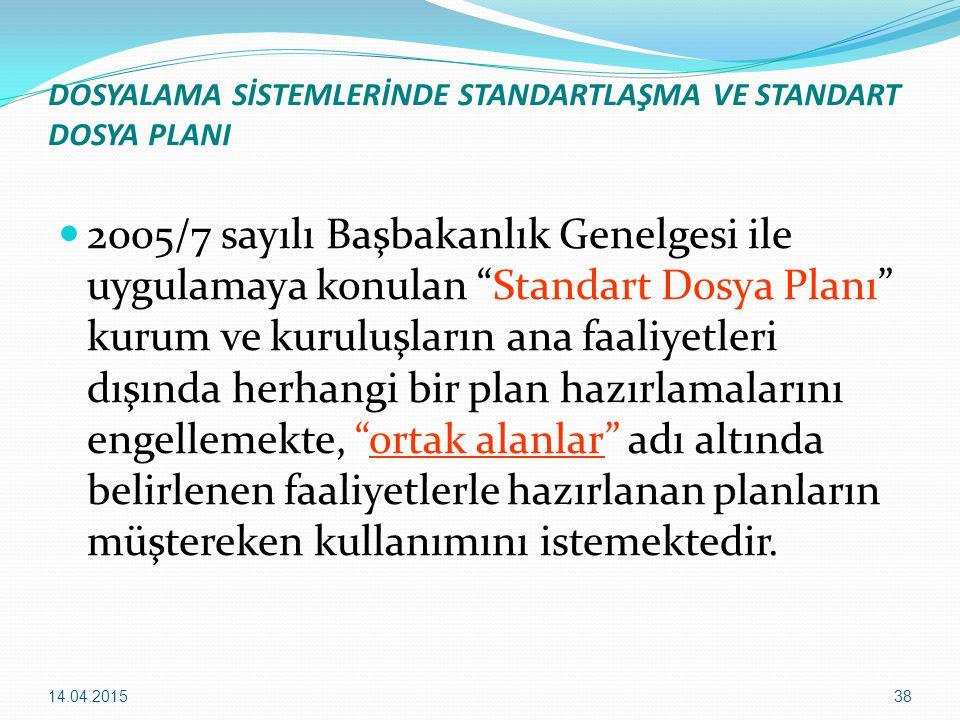 """38 DOSYALAMA SİSTEMLERİNDE STANDARTLAŞMA VE STANDART DOSYA PLANI 2005/7 sayılı Başbakanlık Genelgesi ile uygulamaya konulan """"Standart Dosya Planı"""" kur"""