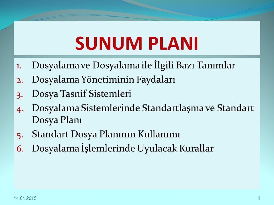 4 SUNUM PLANI 1. Dosyalama ve Dosyalama ile İlgili Bazı Tanımlar 2. Dosyalama Yönetiminin Faydaları 3. Dosya Tasnif Sistemleri 4. Dosyalama Sistemleri