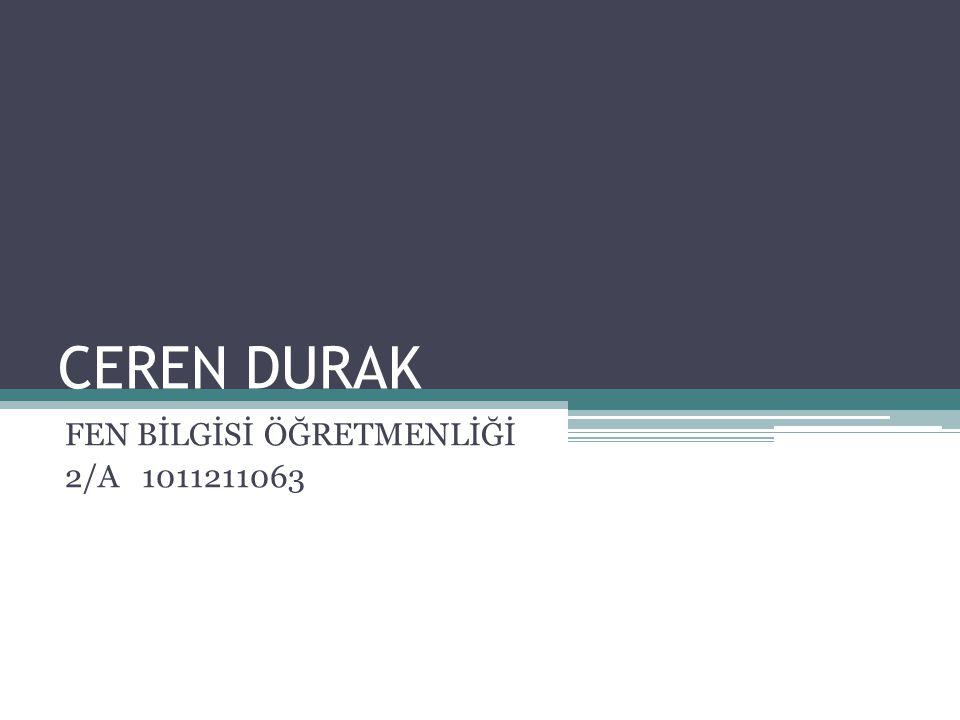 CEREN DURAK FEN BİLGİSİ ÖĞRETMENLİĞİ 2/A 1011211063