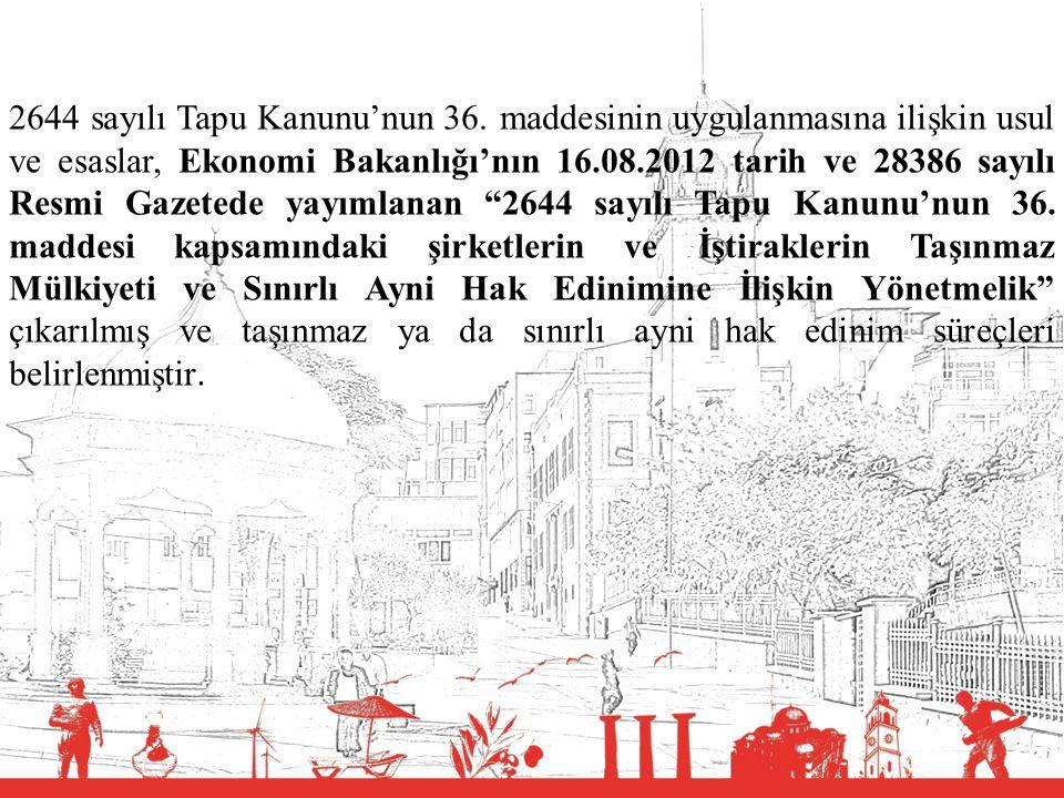 T.C. BALIKESİR VALİLİĞİ 2644 sayılı Tapu Kanunu'nun 36. maddesinin uygulanmasına ilişkin usul ve esaslar, Ekonomi Bakanlığı'nın 16.08.2012 tarih ve 28
