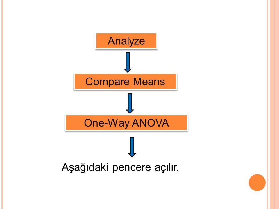 Analyze Compare Means One-Way ANOVA Aşağıdaki pencere açılır.