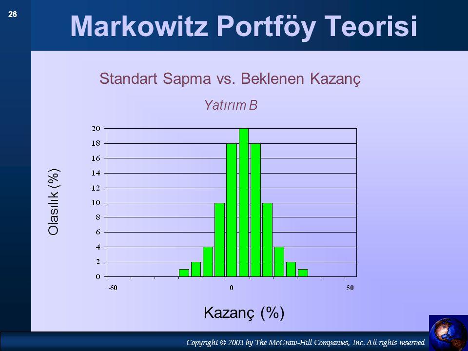26 Copyright © 2003 by The McGraw-Hill Companies, Inc. All rights reserved Markowitz Portföy Teorisi Standart Sapma vs. Beklenen Kazanç Yatırım B Olas