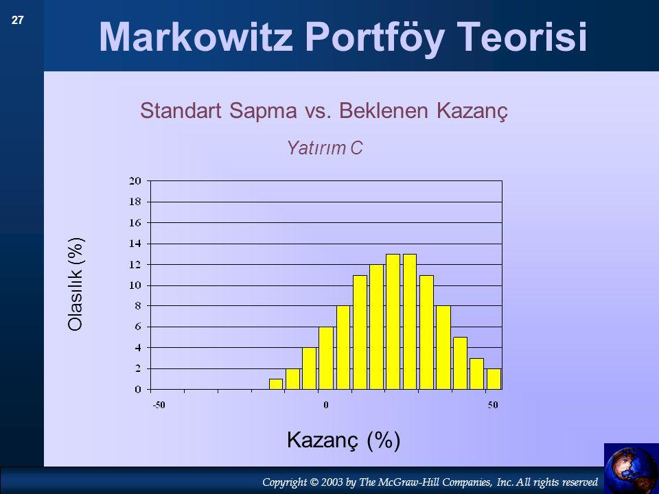 27 Copyright © 2003 by The McGraw-Hill Companies, Inc. All rights reserved Markowitz Portföy Teorisi Standart Sapma vs. Beklenen Kazanç Yatırım C Olas