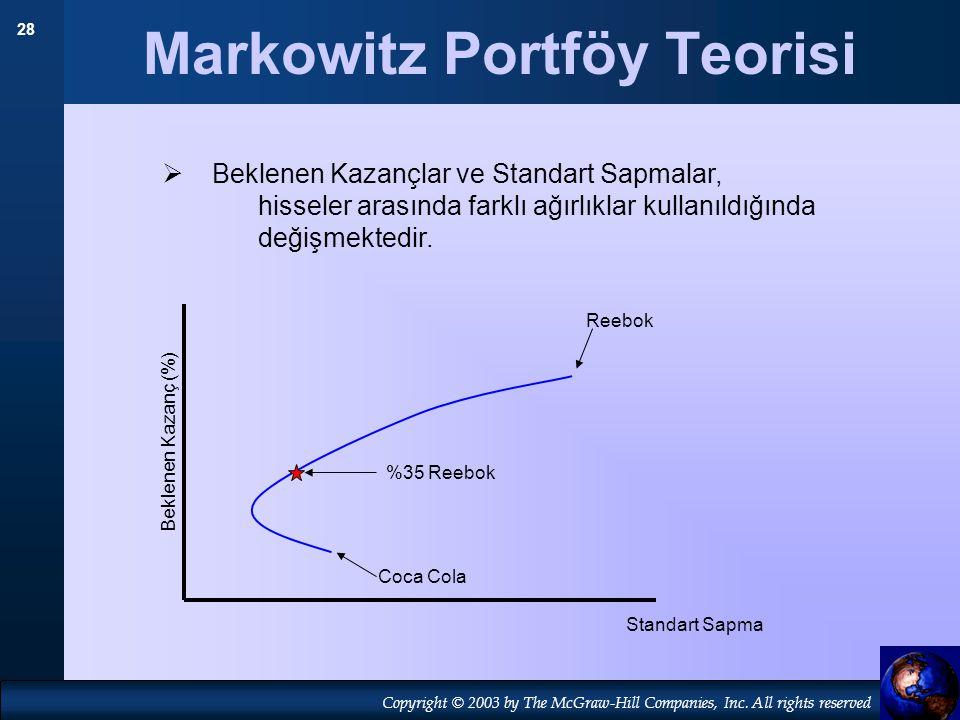 28 Copyright © 2003 by The McGraw-Hill Companies, Inc. All rights reserved Markowitz Portföy Teorisi Coca Cola Reebok Standart Sapma Beklenen Kazanç (