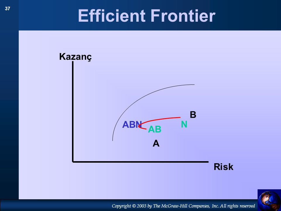 37 Copyright © 2003 by The McGraw-Hill Companies, Inc. All rights reserved Efficient Frontier A B N Kazanç Risk AB ABN