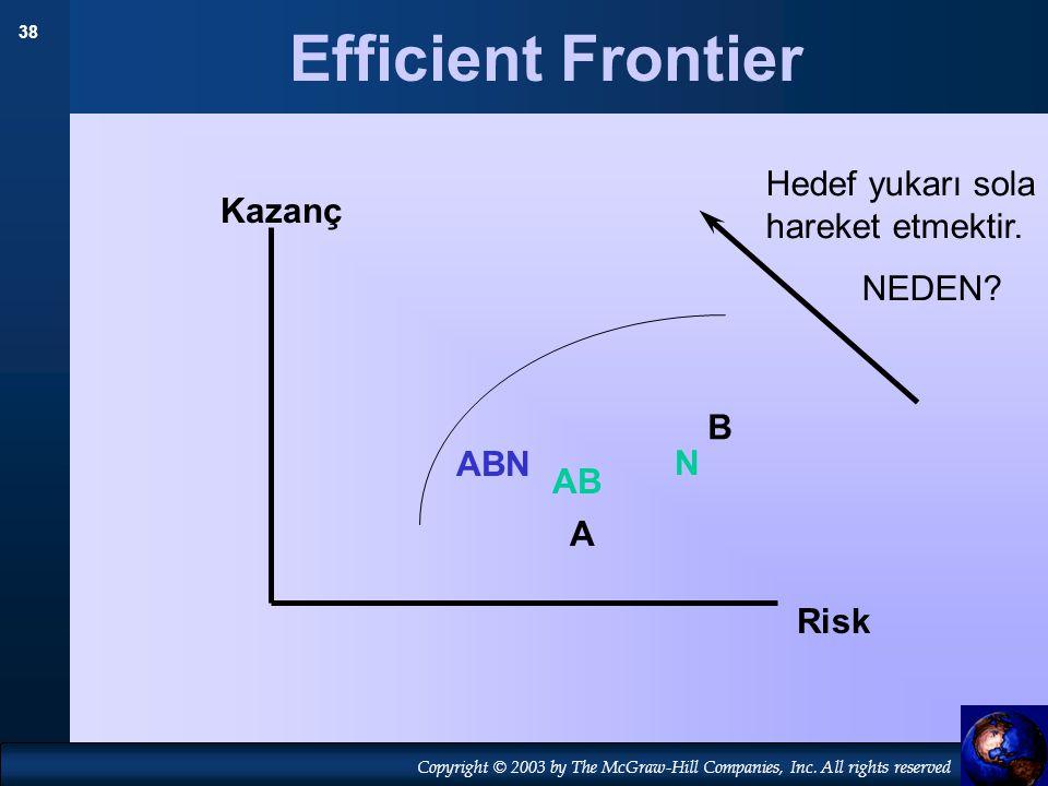38 Copyright © 2003 by The McGraw-Hill Companies, Inc. All rights reserved Efficient Frontier A B N Kazanç Risk AB Hedef yukarı sola hareket etmektir.