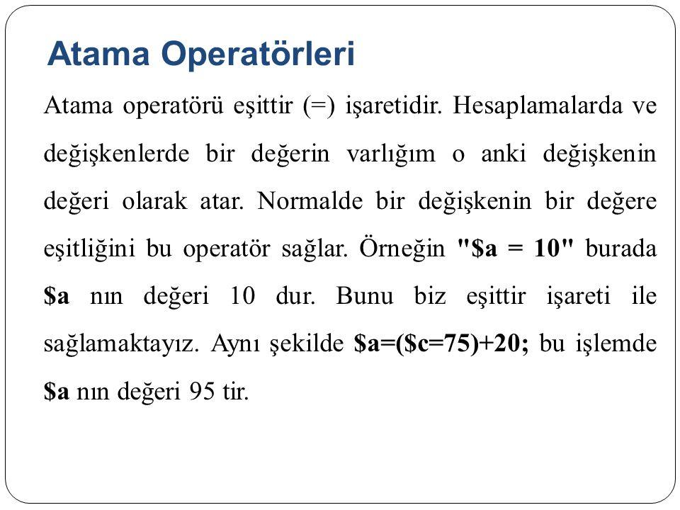 Atama Operatörleri Atama operatörü eşittir (=) işaretidir.