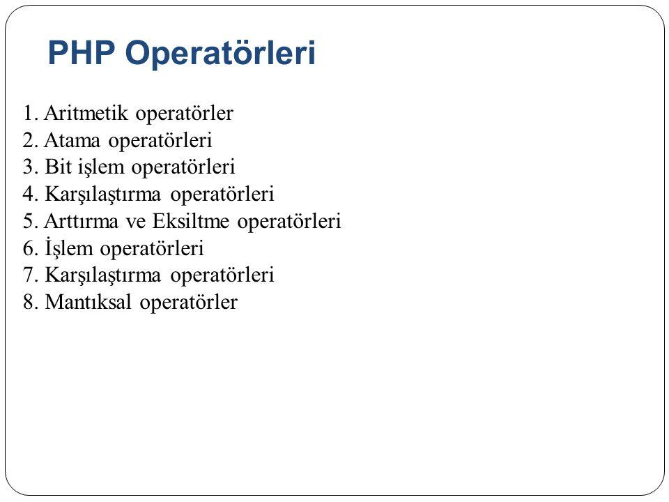 PHP Operatörleri 1.Aritmetik operatörler 2. Atama operatörleri 3.