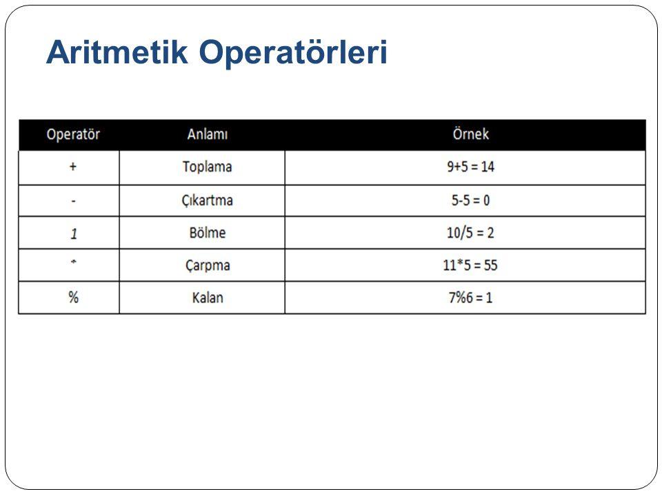 Aritmetik Operatörleri