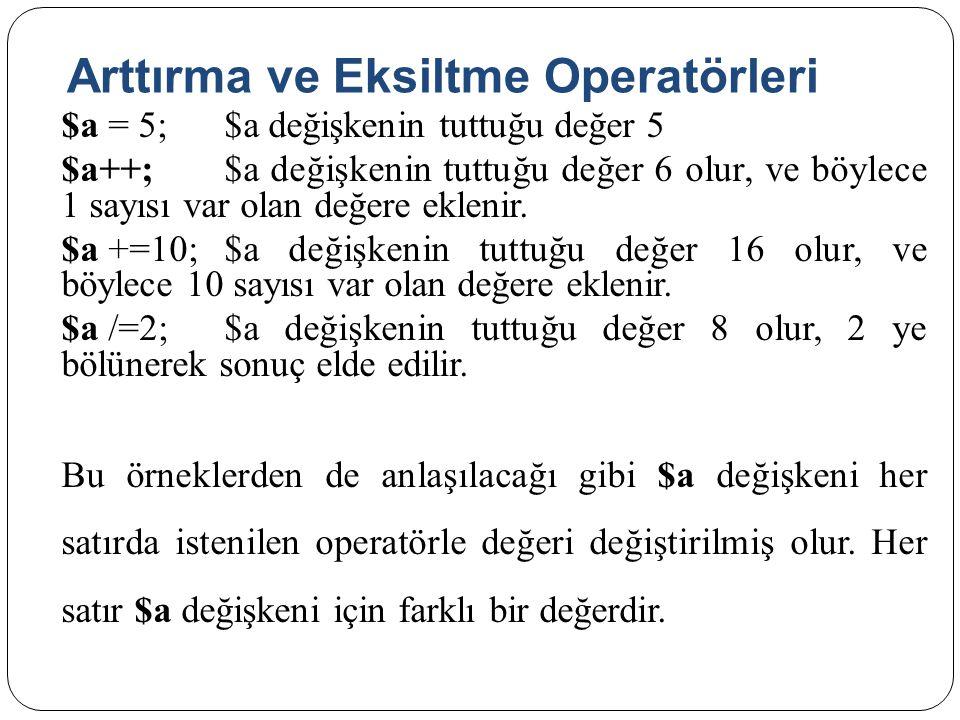 Arttırma ve Eksiltme Operatörleri $a = 5;$a değişkenin tuttuğu değer 5 $a++;$a değişkenin tuttuğu değer 6 olur, ve böylece 1 sayısı var olan değere eklenir.